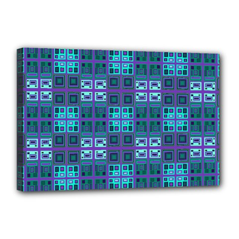 Mod Purple Green Turquoise Square Pattern Canvas 18  X 12  (stretched)