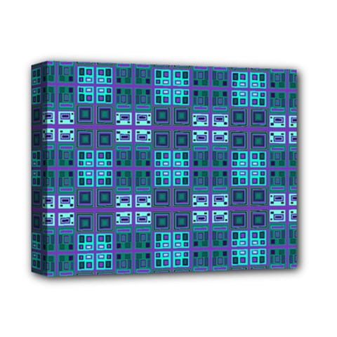 Mod Purple Green Turquoise Square Pattern Deluxe Canvas 14  X 11  (stretched)
