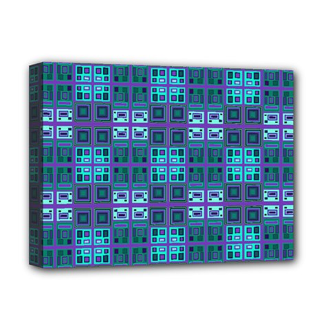 Mod Purple Green Turquoise Square Pattern Deluxe Canvas 16  X 12  (stretched)