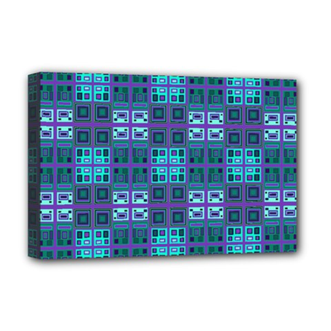 Mod Purple Green Turquoise Square Pattern Deluxe Canvas 18  X 12  (stretched)