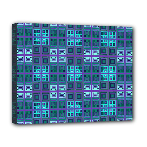 Mod Purple Green Turquoise Square Pattern Deluxe Canvas 20  X 16  (stretched)