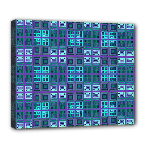 Mod Purple Green Turquoise Square Pattern Deluxe Canvas 24  X 20  (stretched)
