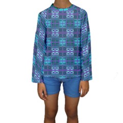 Mod Purple Green Turquoise Square Pattern Kids  Long Sleeve Swimwear