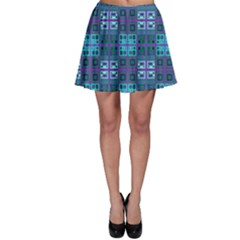 Mod Purple Green Turquoise Square Pattern Skater Skirt