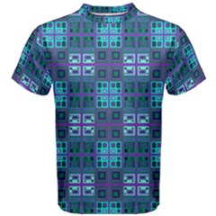 Mod Purple Green Turquoise Square Pattern Men s Cotton Tee