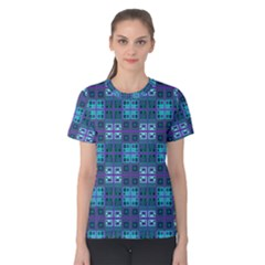 Mod Purple Green Turquoise Square Pattern Women s Cotton Tee