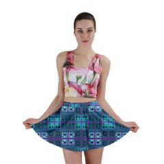 Mod Purple Green Turquoise Square Pattern Mini Skirt