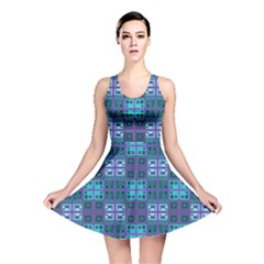 Mod Purple Green Turquoise Square Pattern Reversible Skater Dress
