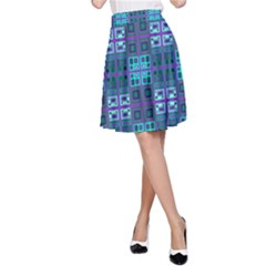 Mod Purple Green Turquoise Square Pattern A Line Skirt