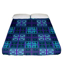 Mod Purple Green Turquoise Square Pattern Fitted Sheet (queen Size)