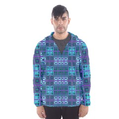Mod Purple Green Turquoise Square Pattern Hooded Windbreaker (men)