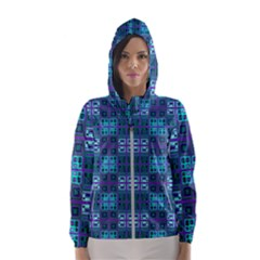 Mod Purple Green Turquoise Square Pattern Hooded Windbreaker (women)