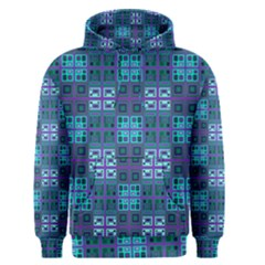 Mod Purple Green Turquoise Square Pattern Men s Pullover Hoodie
