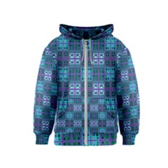 Mod Purple Green Turquoise Square Pattern Kids  Zipper Hoodie