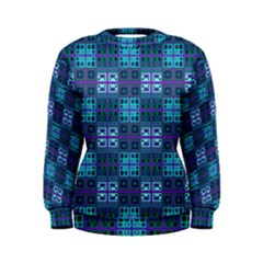 Mod Purple Green Turquoise Square Pattern Women s Sweatshirt