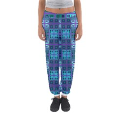 Mod Purple Green Turquoise Square Pattern Women s Jogger Sweatpants