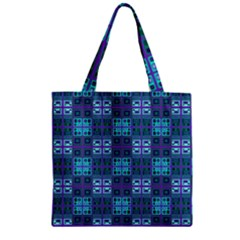 Mod Purple Green Turquoise Square Pattern Zipper Grocery Tote Bag