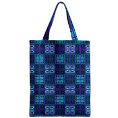 Mod Purple Green Turquoise Square Pattern Zipper Classic Tote Bag