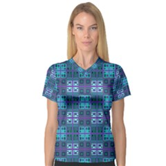 Mod Purple Green Turquoise Square Pattern V Neck Sport Mesh Tee