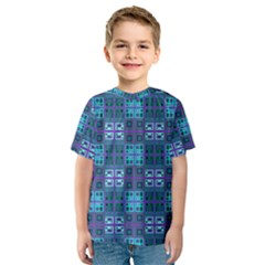 Mod Purple Green Turquoise Square Pattern Kids  Sport Mesh Tee