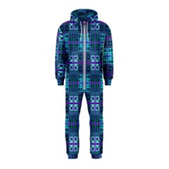 Mod Purple Green Turquoise Square Pattern Hooded Jumpsuit (kids)