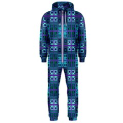 Mod Purple Green Turquoise Square Pattern Hooded Jumpsuit (men)