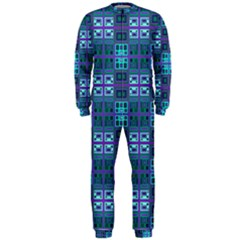 Mod Purple Green Turquoise Square Pattern Onepiece Jumpsuit (men)