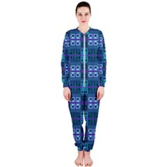 Mod Purple Green Turquoise Square Pattern Onepiece Jumpsuit (ladies)