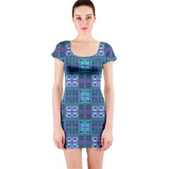 Mod Purple Green Turquoise Square Pattern Short Sleeve Bodycon Dress