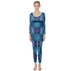 Mod Purple Green Turquoise Square Pattern Long Sleeve Catsuit
