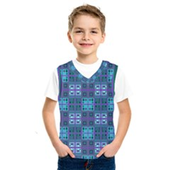 Mod Purple Green Turquoise Square Pattern Kids  Sportswear