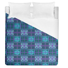 Mod Purple Green Turquoise Square Pattern Duvet Cover (queen Size)