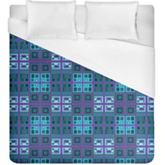 Mod Purple Green Turquoise Square Pattern Duvet Cover (king Size)