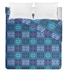 Mod Purple Green Turquoise Square Pattern Duvet Cover Double Side (queen Size)
