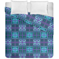 Mod Purple Green Turquoise Square Pattern Duvet Cover Double Side (california King Size)