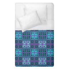 Mod Purple Green Turquoise Square Pattern Duvet Cover (single Size)