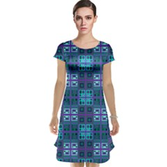 Mod Purple Green Turquoise Square Pattern Cap Sleeve Nightdress