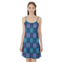 Mod Purple Green Turquoise Square Pattern Satin Night Slip