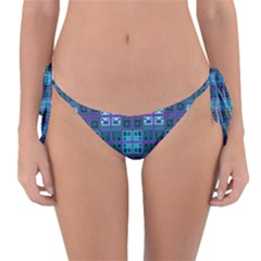 Mod Purple Green Turquoise Square Pattern Reversible Bikini Bottom