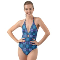 Mod Purple Green Turquoise Square Pattern Halter Cut Out One Piece Swimsuit