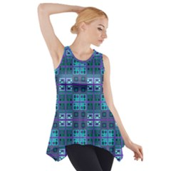 Mod Purple Green Turquoise Square Pattern Side Drop Tank Tunic