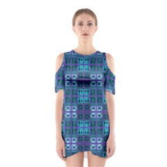 Mod Purple Green Turquoise Square Pattern Shoulder Cutout One Piece Dress