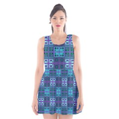 Mod Purple Green Turquoise Square Pattern Scoop Neck Skater Dress