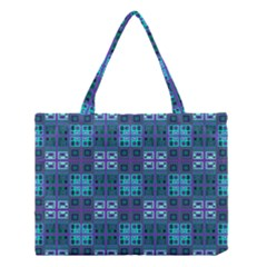 Mod Purple Green Turquoise Square Pattern Medium Tote Bag by BrightVibesDesign