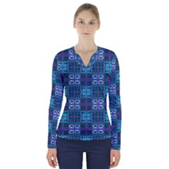 Mod Purple Green Turquoise Square Pattern V Neck Long Sleeve Top