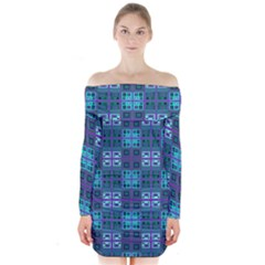 Mod Purple Green Turquoise Square Pattern Long Sleeve Off Shoulder Dress