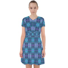 Mod Purple Green Turquoise Square Pattern Adorable In Chiffon Dress by BrightVibesDesign