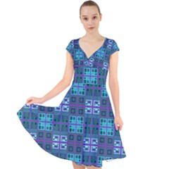 Mod Purple Green Turquoise Square Pattern Cap Sleeve Front Wrap Midi Dress