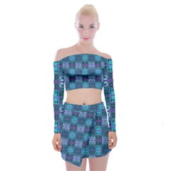 Mod Purple Green Turquoise Square Pattern Off Shoulder Top With Mini Skirt Set