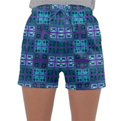 Mod Purple Green Turquoise Square Pattern Sleepwear Shorts